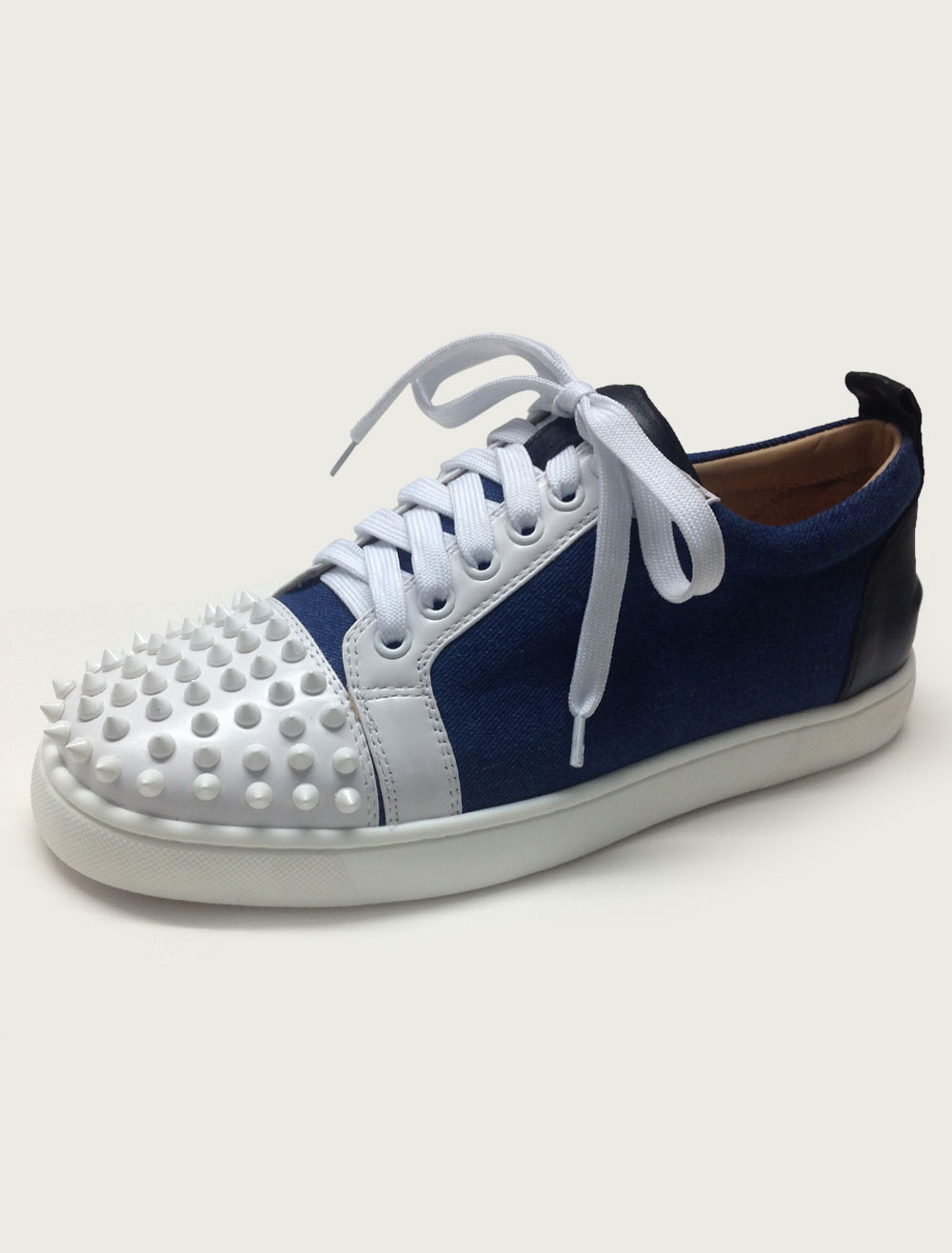 Rivets Sneakers Color Block Lace Up Leather Shoes for Men