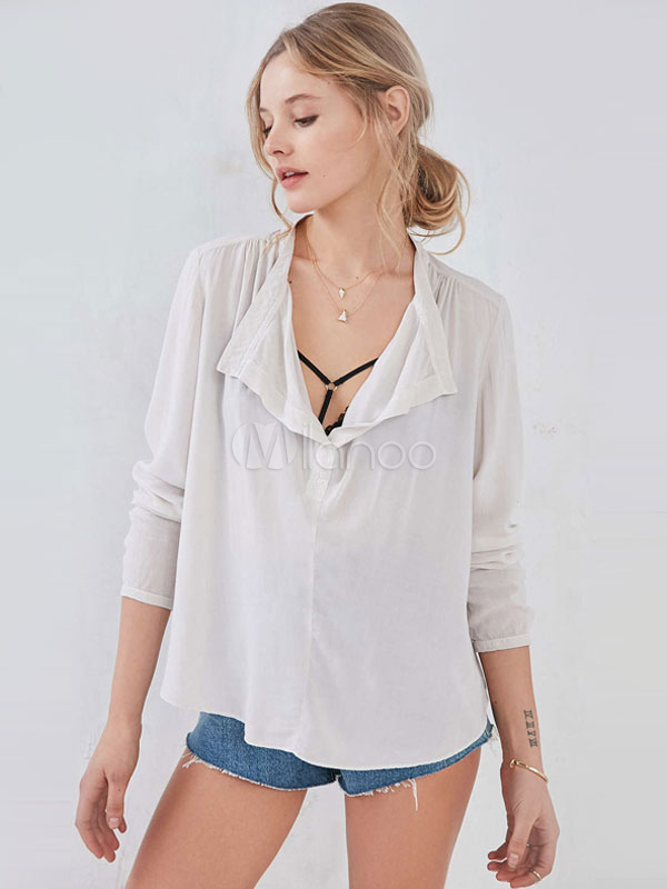White Blouse Ruched Oversized Polyester Blouse For Women