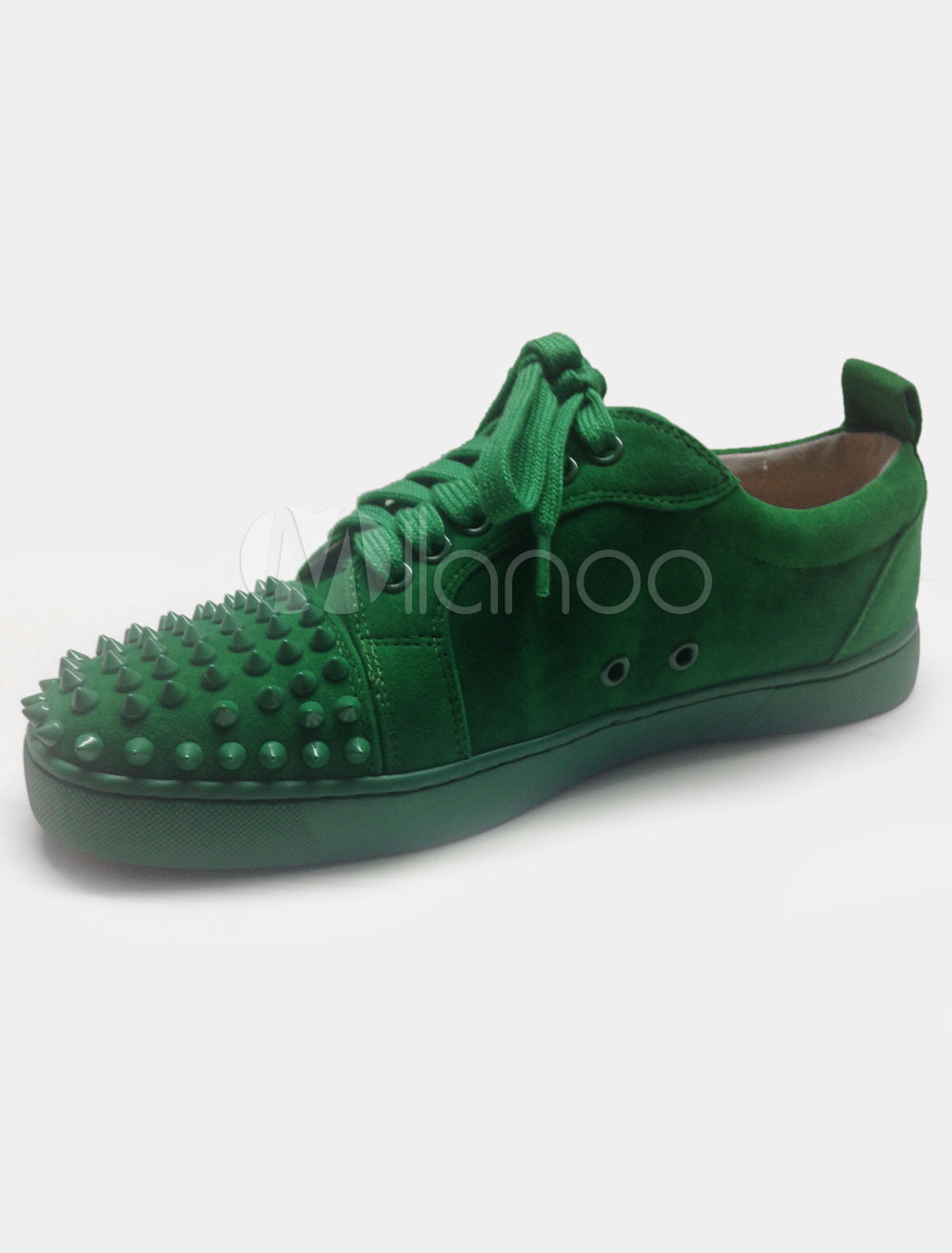 Rivets Sneakers Green Lace Up Leather Shoes for Men