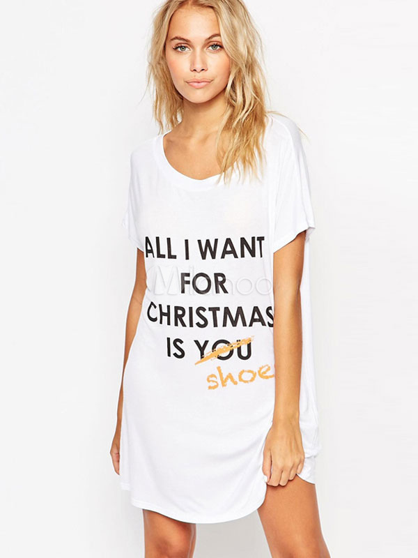 Buy White Shift Dress Letters Print Polyester Dress for $17.99 in Milanoo store