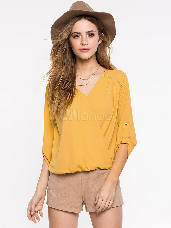 Buy Yellow Ruched Top Deep-V Oversized Polyester Blouse For Women for $26.99 in Milanoo store