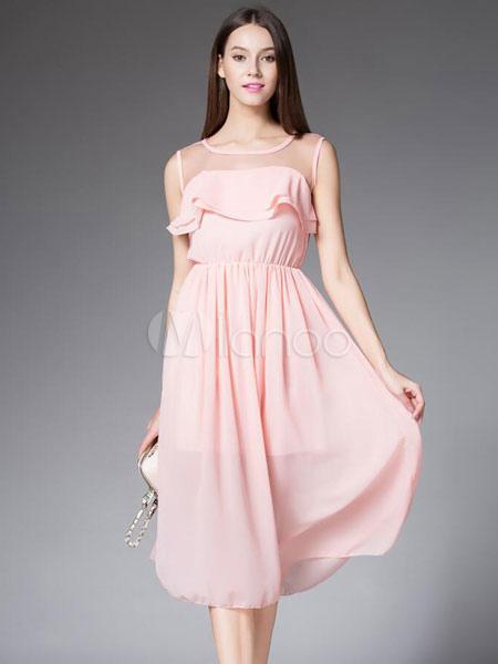 Muito Rosa chá-comprimento vestido plissado vestido de Chiffon - Milanoo.com HE75
