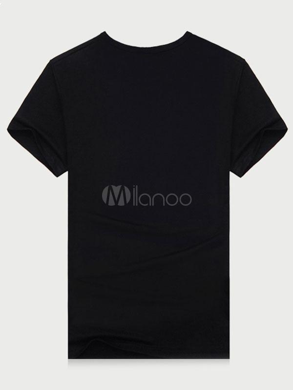... Camiseta negra Letras arma impresión manga corta algodón camiseta para  los hombres-No.2 ... 3c918527d3fa
