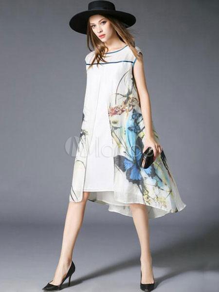 meilleure sélection 48689 8271d Blanc Shift robe Chic Print coton robe lin