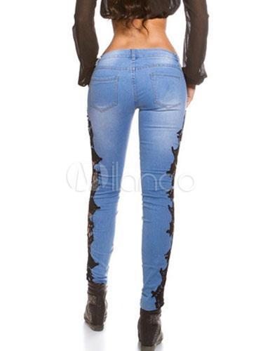 blaue zerrissene jeans ausschneiden spitze skinny. Black Bedroom Furniture Sets. Home Design Ideas
