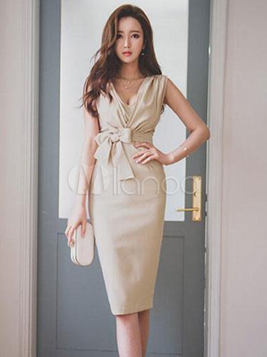 Split Bodycon Dress Apricot Sash Dress Cheap clothes, free shipping worldwide