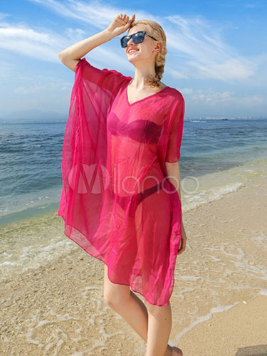 Rose Red Cover Up Semi-Sheer Chiffon Cover Up For Women