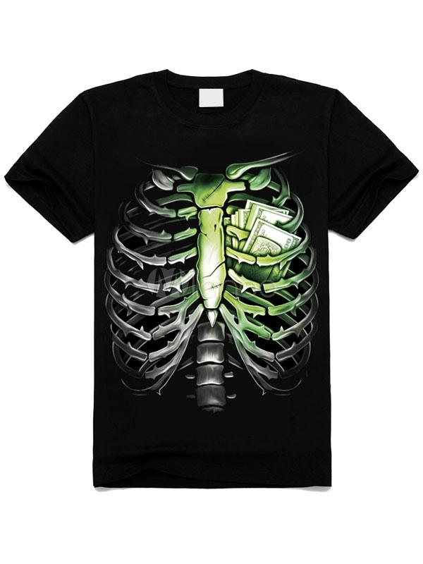 Algodón Corta Negra Esqueleto Para Manga Impresión Camiseta SwXqT6q
