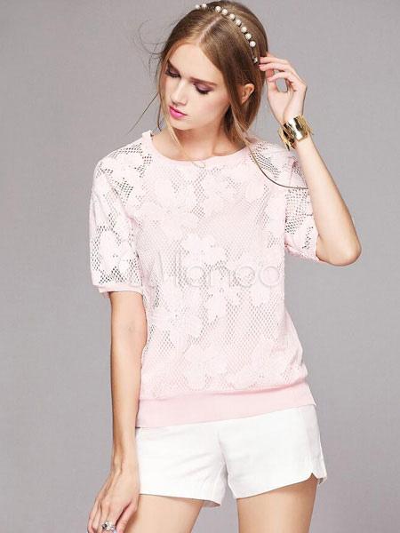 chemisier blanc chic dentelle t shirt pour femmes. Black Bedroom Furniture Sets. Home Design Ideas