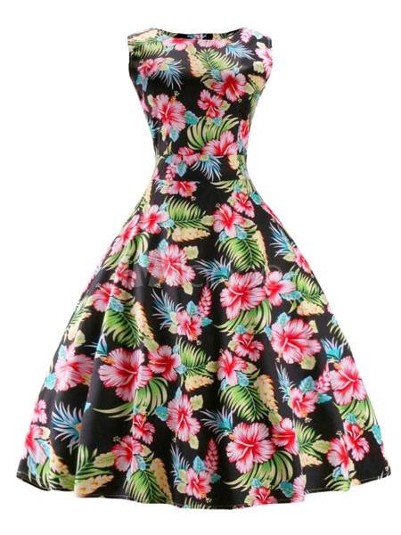 Multicolor Flare Dress Floral Print Spandex Vintage Dress