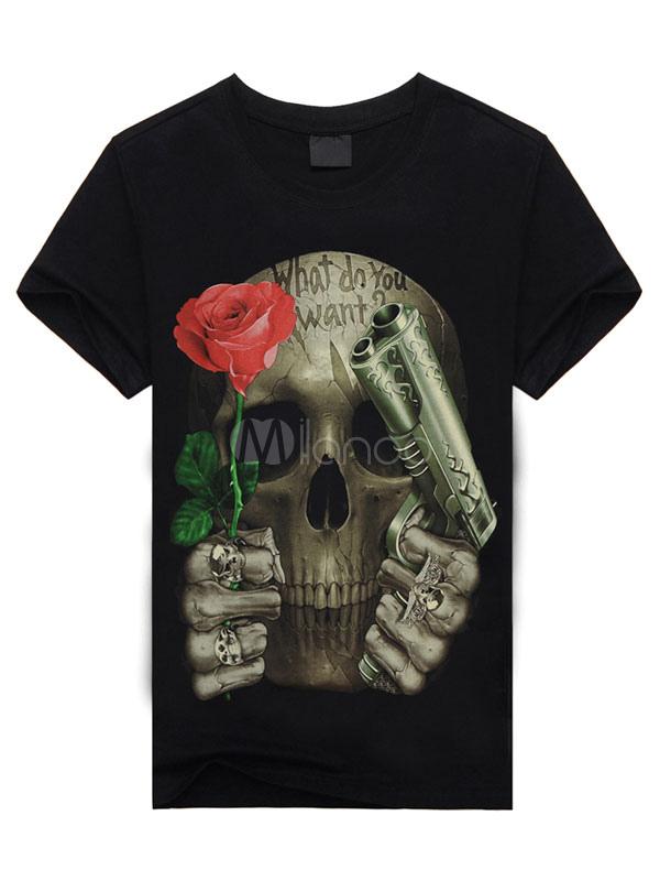 Buy Black Skull Cartoon Print T-Shirt Short Sleeves Cotton T-Shirt for Men for $10.19 in Milanoo store
