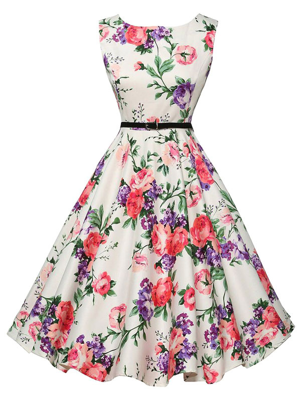 White Printed Flower Vintage Dress