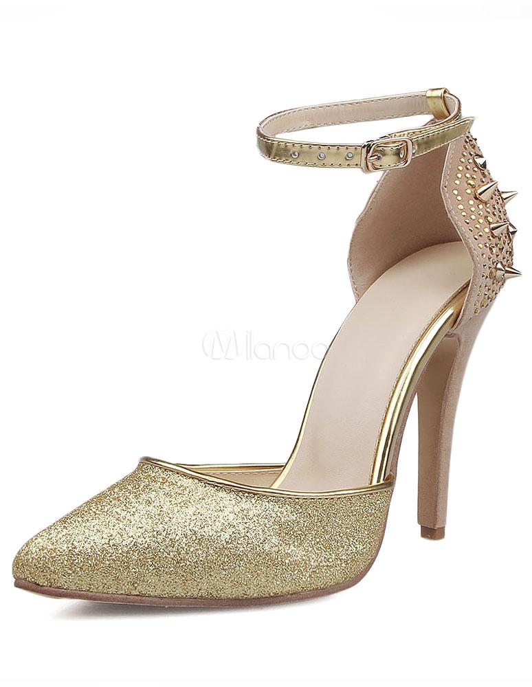 Remaches de purpurina sandalias oro cuero tacones para las mujeres LiR0oA