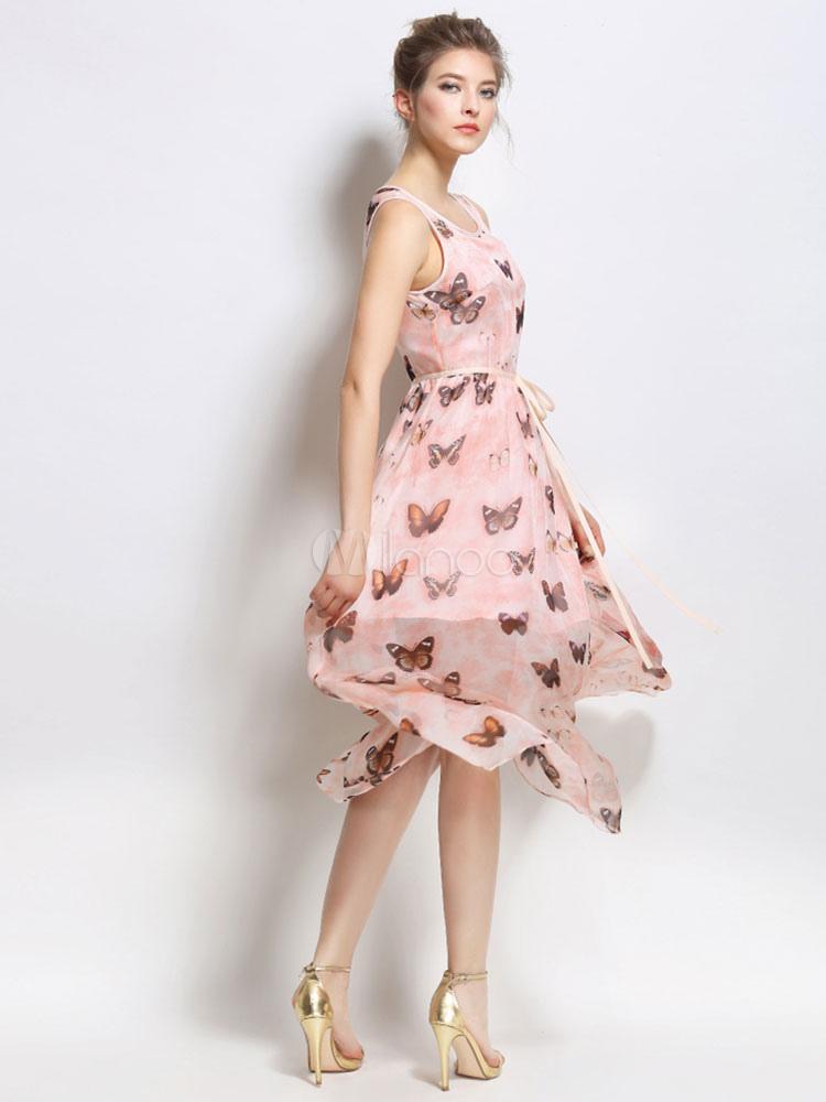 Mariposa rosa Vestido estampado de Gasa de verano Chic Vestido ...