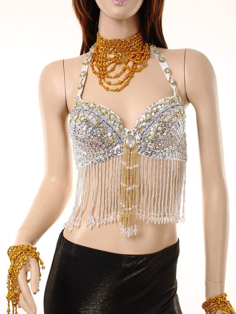 No Fringe argent Top 1 Halter Costume du ventre Crop femmes danse pour Nylon BaxTq6Px