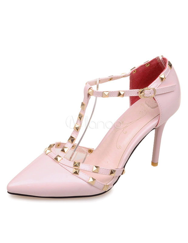 Buy Stud Sandals Red Pointed Toe Patent PU Heels for Women for $35.99 in Milanoo store