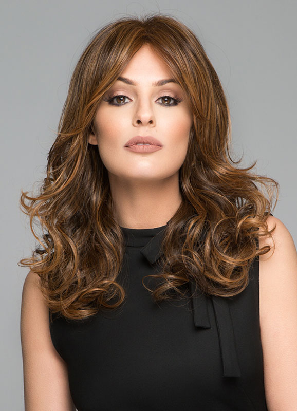 Brown Wig Curly Medium 60CM Synthetic Wig for Women