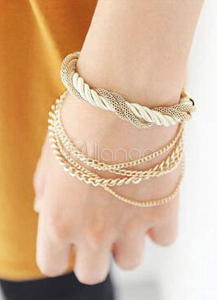 Gold Layered Bracelet Chain Metal Bracelet for Women