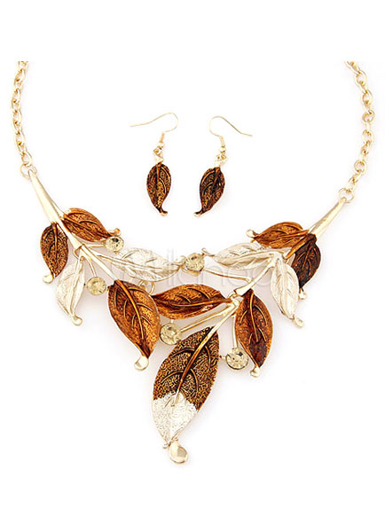 Statement Necklace Leaf Pattern Metal Jewelry Set for Women