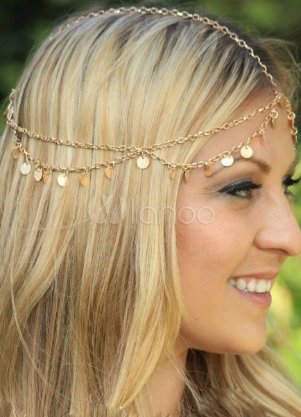 Gold Headband Fringe Metal Hair Accessories Cheap clothes, free shipping worldwide