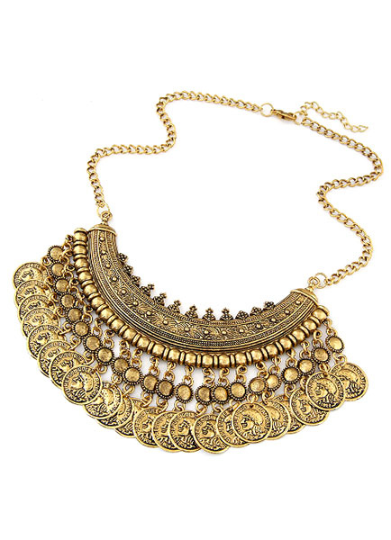 Buy Gold Layered Necklace Tiered Coin Metal Necklace for Women for $4.79 in Milanoo store