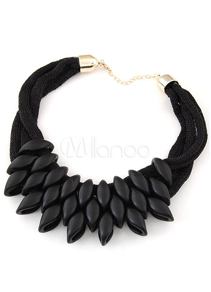 Black Layered Necklace Nylon Metal Necklace for Women