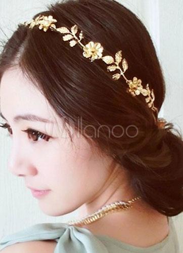 ... Gold Headband Flowers Chain Metal Hair Accessories-No.7 ...