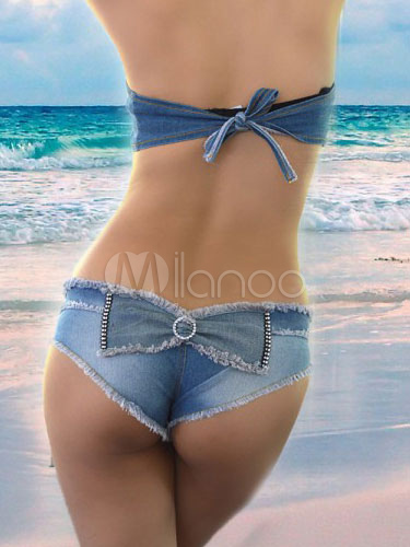 Denim Brief in Bow On the Back Cheap clothes, free shipping worldwide