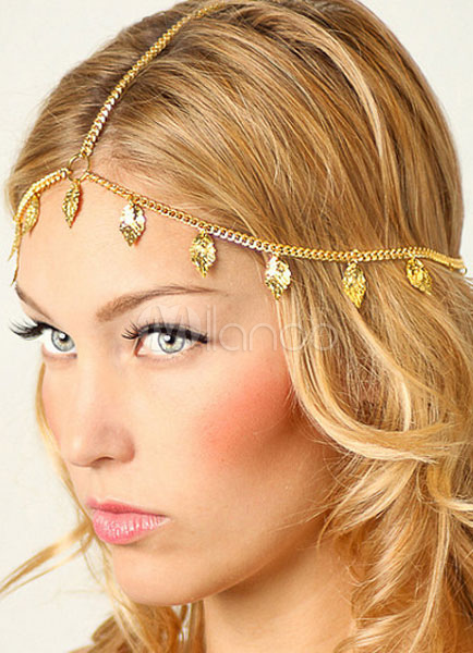 Gold Fringe Headband Metal Hair Accessories Cheap clothes, free shipping worldwide
