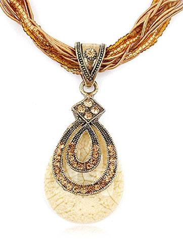 Buy Multicolor Pendant Rhinestone Metal Necklace for Women for $3.46 in Milanoo store