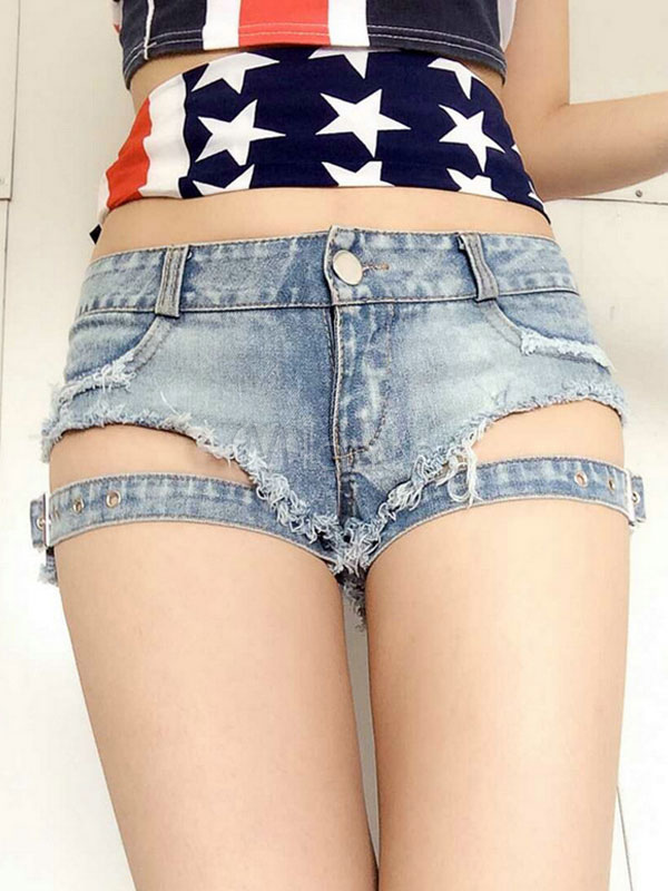 Distressed Denim Short With Buckle