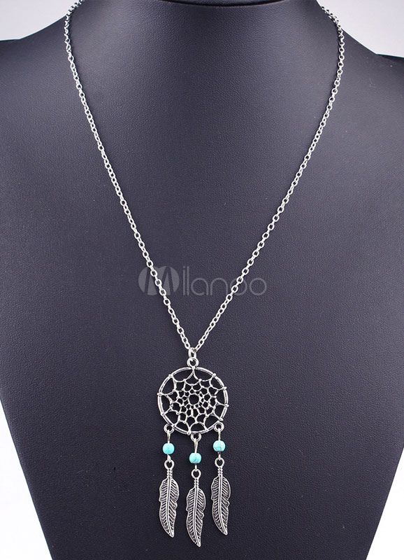 Buy Multicolor Leaf Necklace Bohemian Cut Out Metal Necklace For Women for $2.75 in Milanoo store