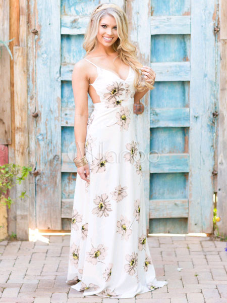 Backless Summer Long Dress With Big Flowers Patterm