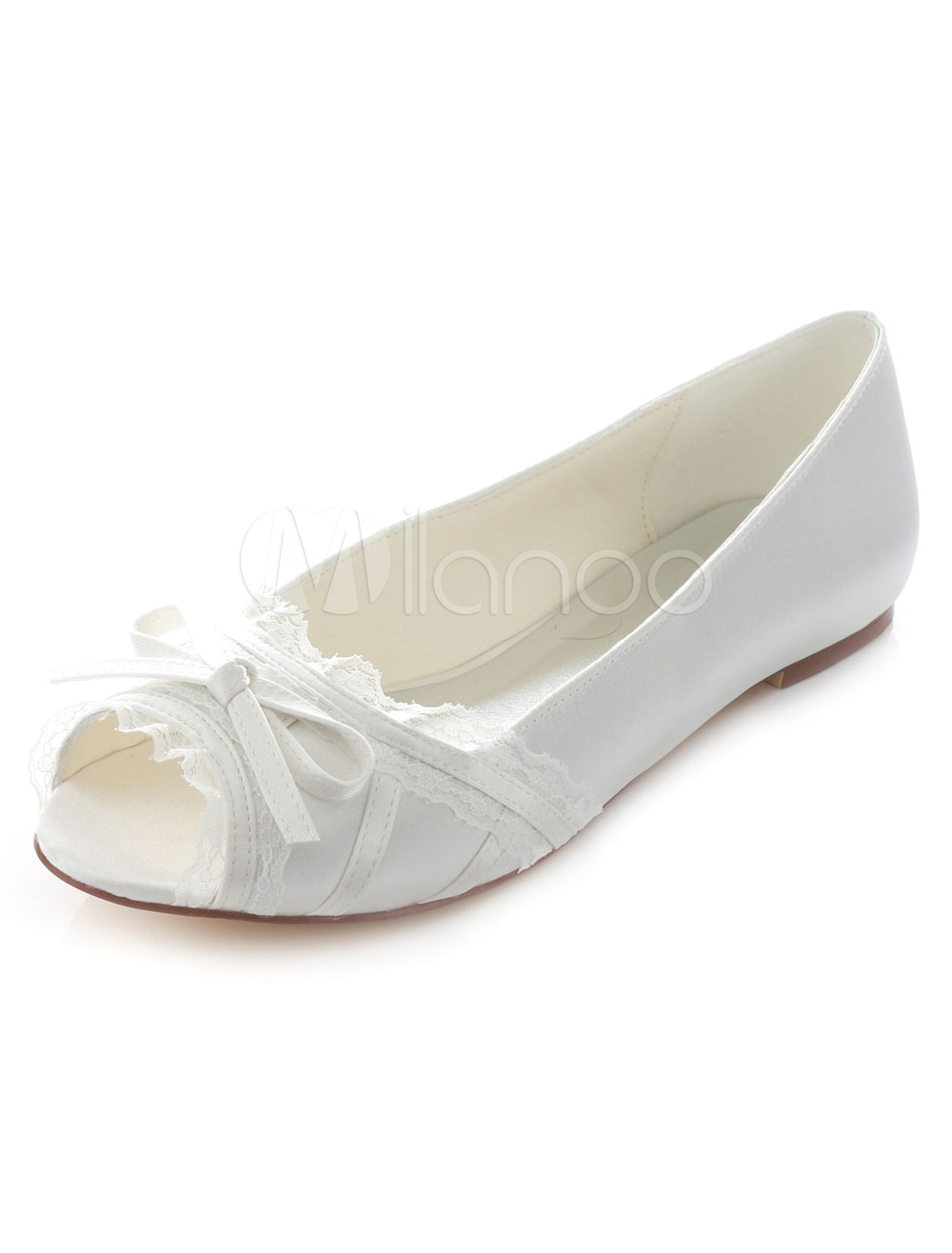 9e886baa2e0 White Peep Toe Bridal Flats Bow Lace Satin Wedding Shoes for Women ...