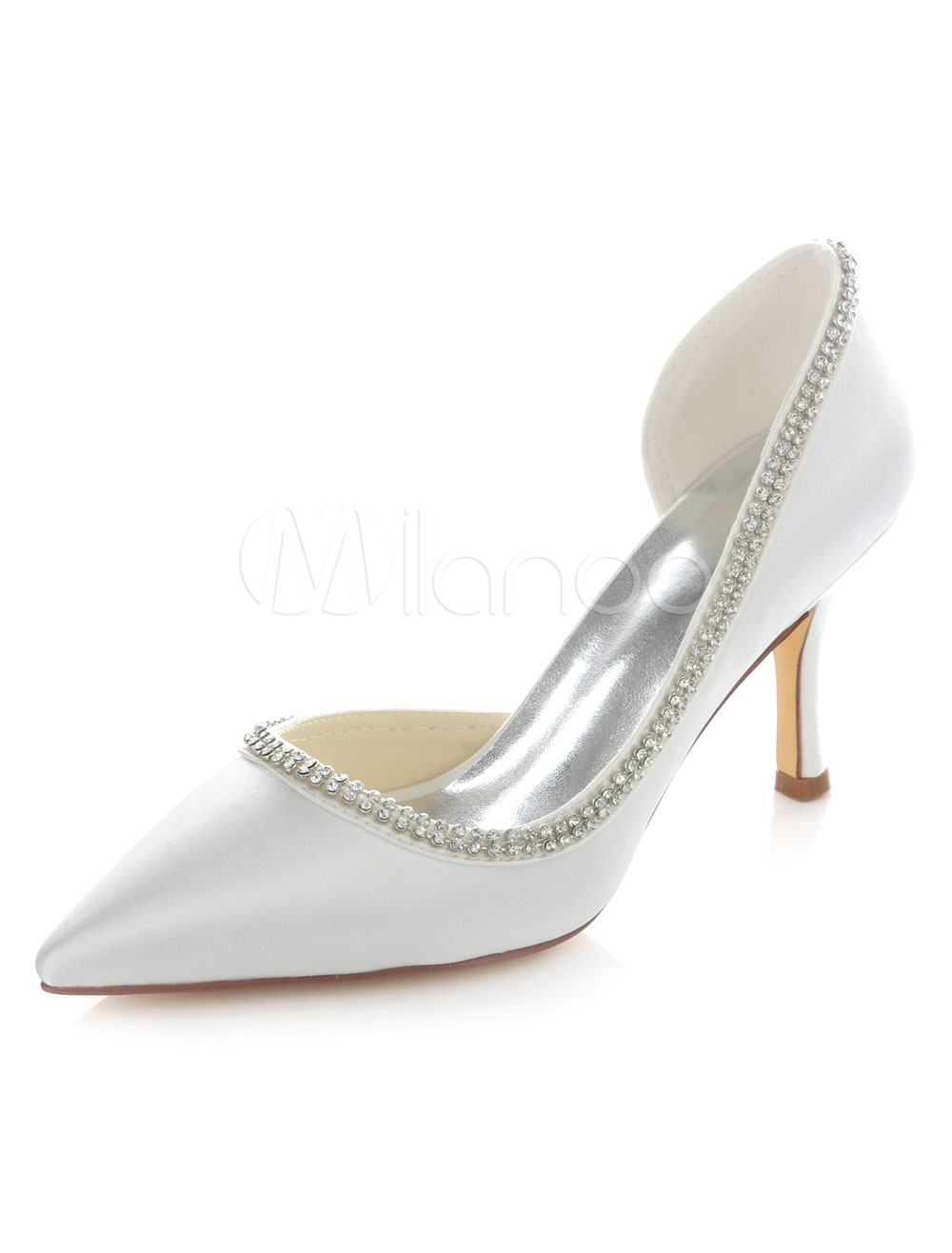 White Cut Out Bridal Pumps Pointed Toe Satin Wedding Heels for Women
