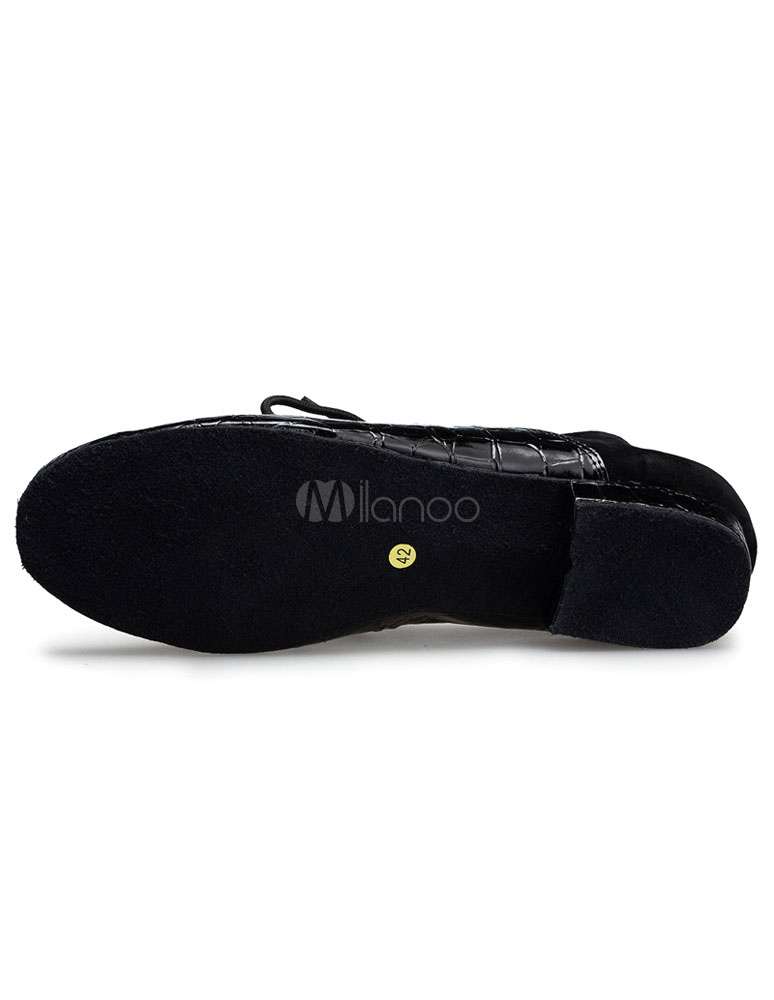 Negro latino zapatos Print Croco ATA para arriba el salón de baile zapatos de la PU para los hombres 94oEA6ma
