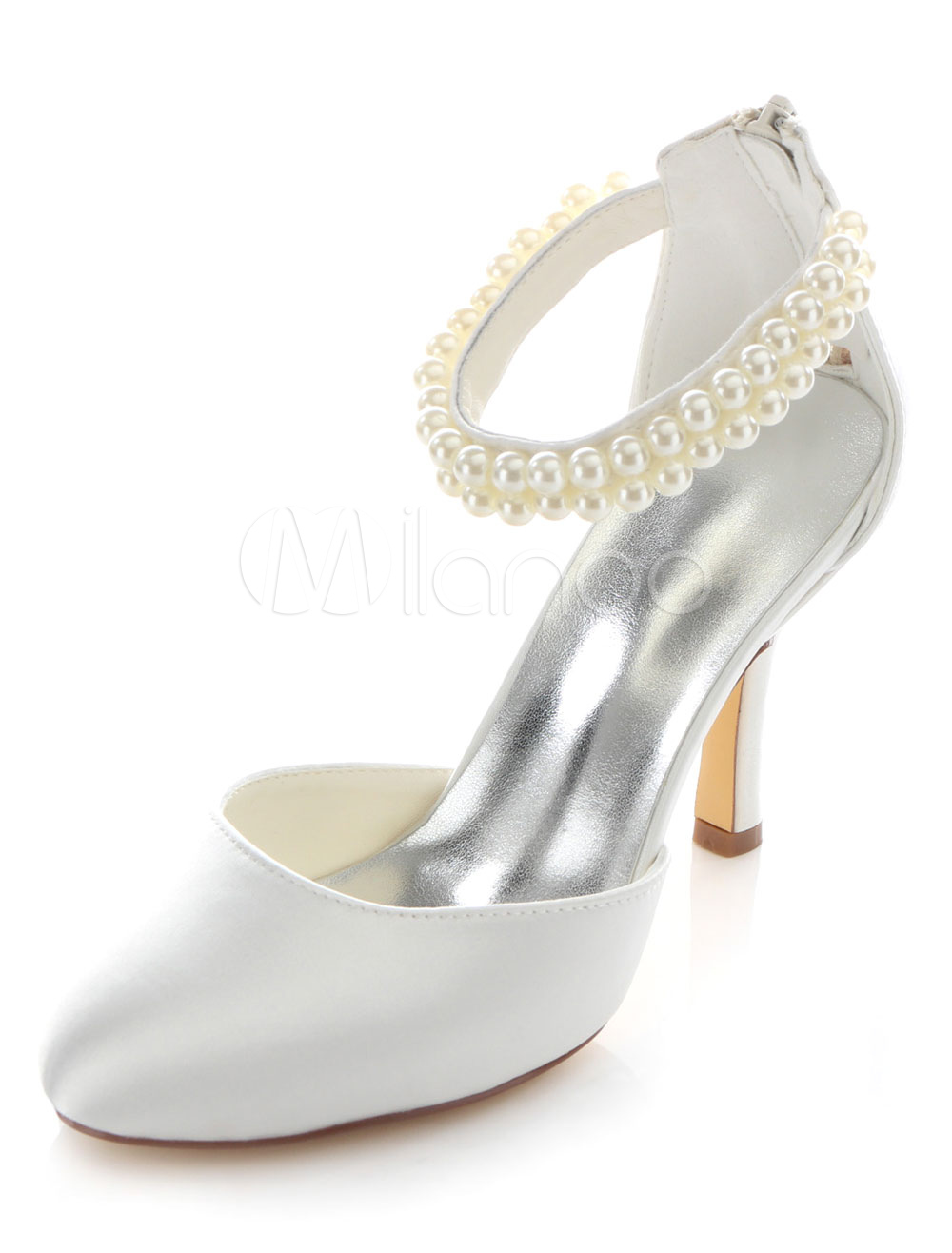 White Bridal Sandals Pearls Satin Wedding Heels for Women