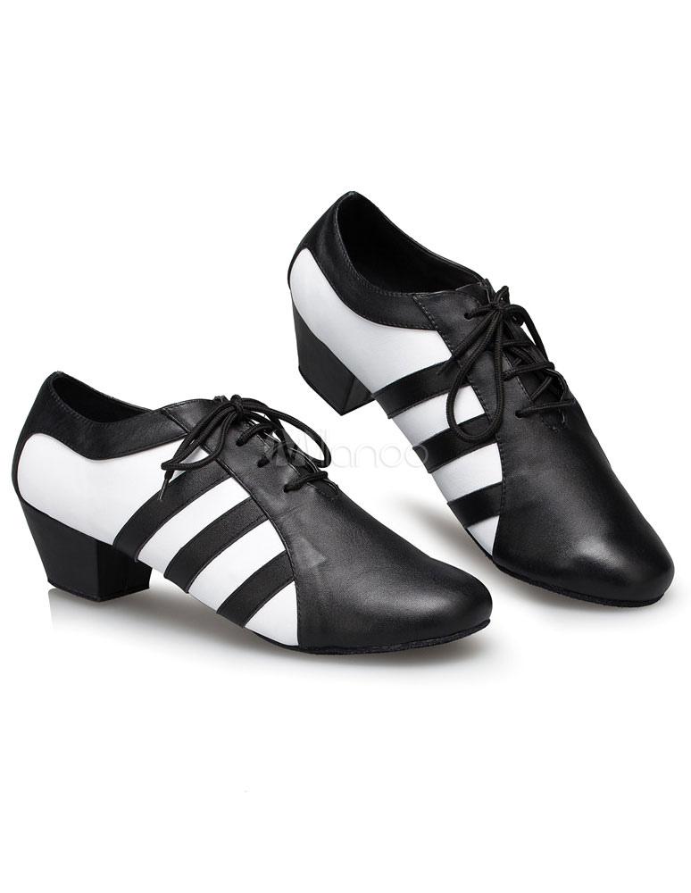 Rayas impresión de baile latino zapatos encaje zapatos de salón de baile de PU para los hombres 0xlHCfdNC