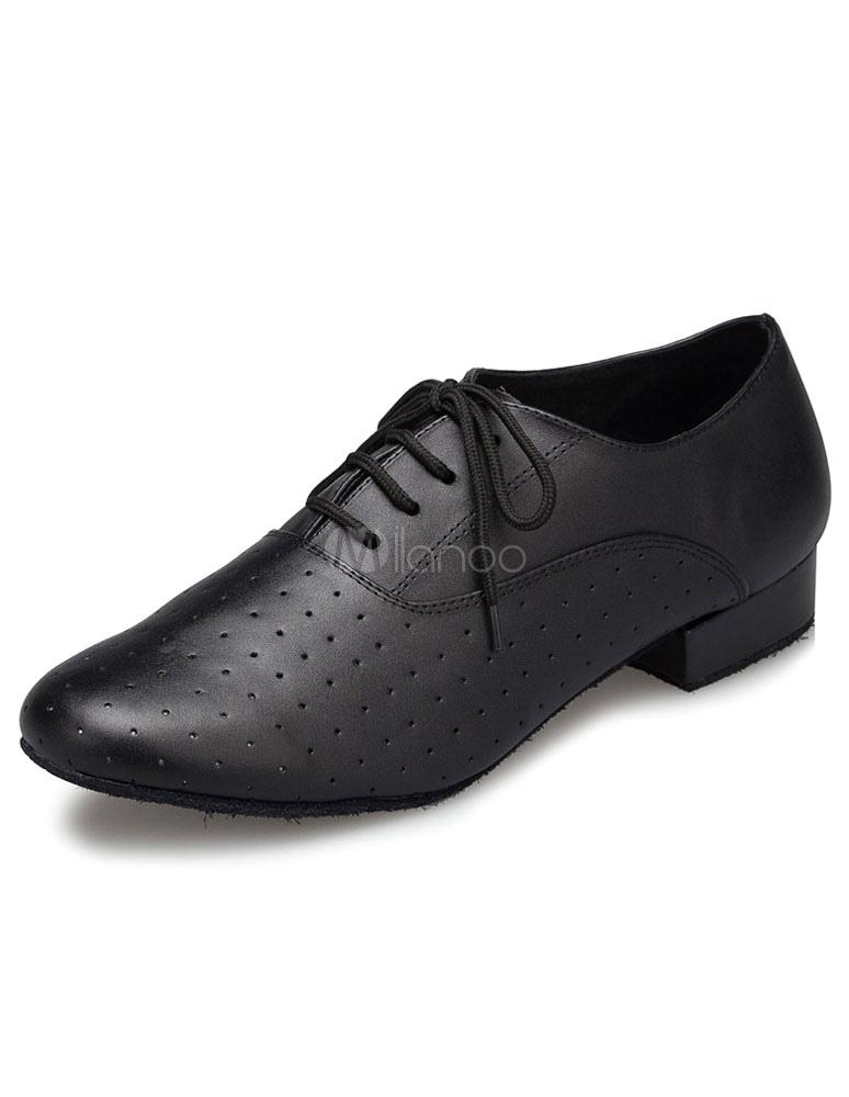 Black Latin Dance Shoes Lace Up PU Ballroom Shoes for Men