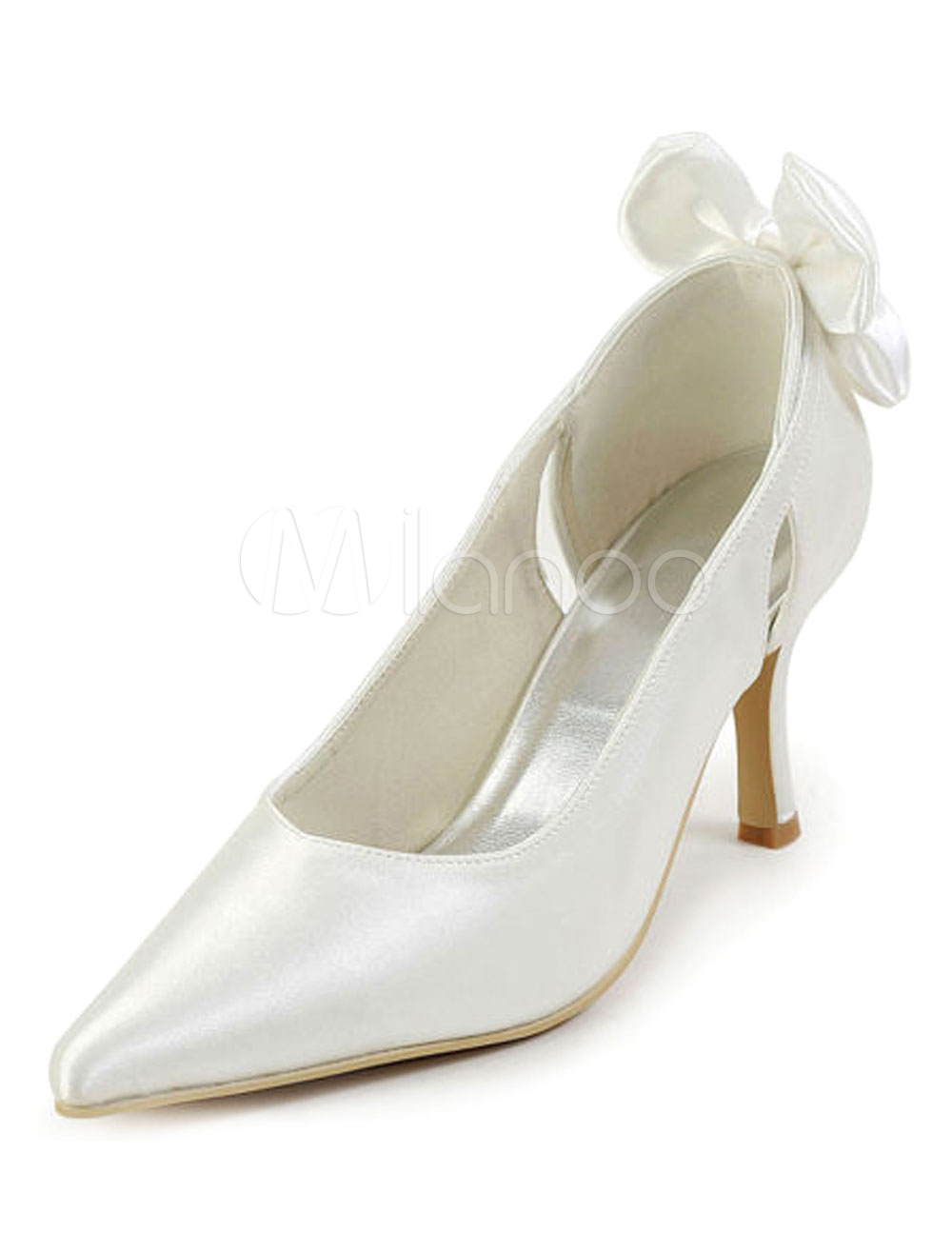 White Bow Bridal Pumps Satin Wedding Heels for Women