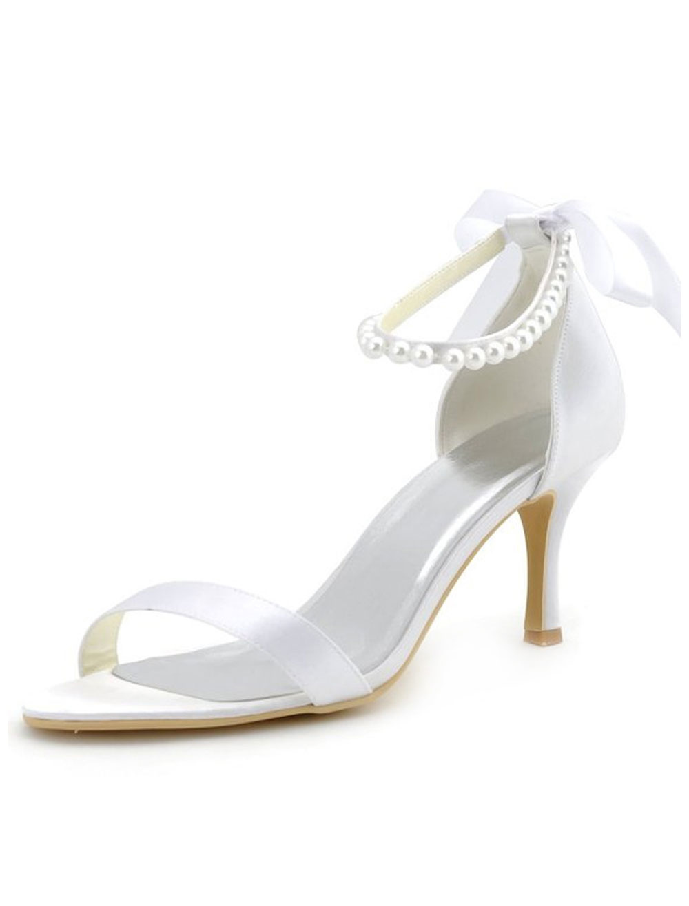 Bow Pearls Bridal Sandals White Satin Wedding Heels for Women
