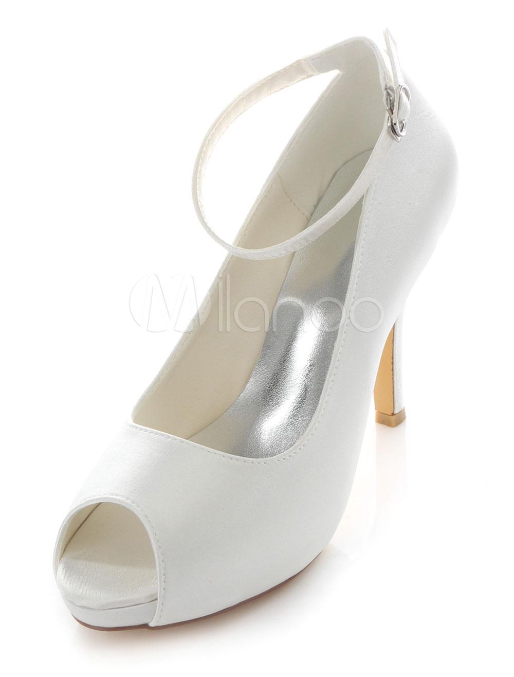 Buy Peep Toe Bridal Pumps White Satin Wedding Heels for Women for $56.69 in Milanoo store