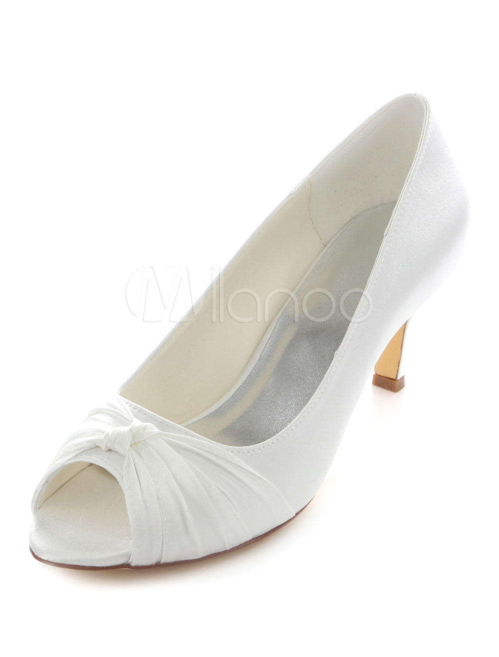 White Bridal Pumps Peep Toe Ruched Satin Wedding Heels for Women