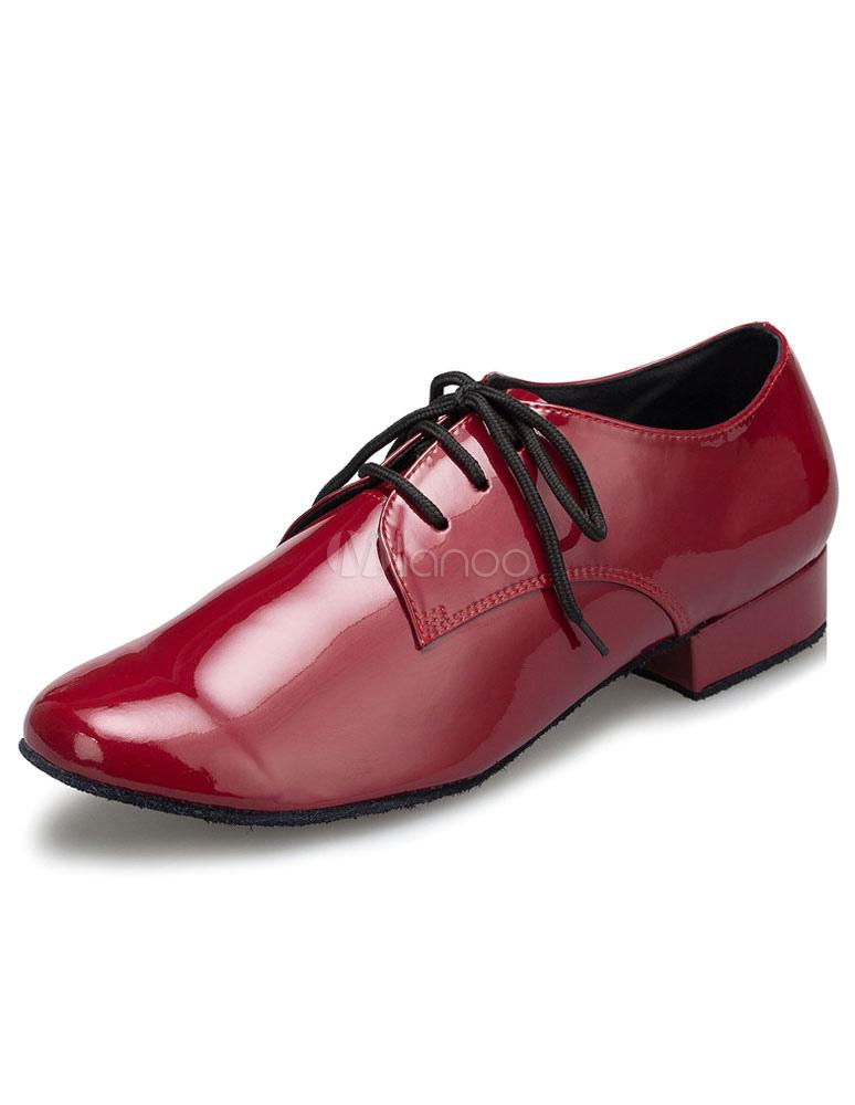 Borgoña de baile latino zapatos encaje patente PU zapatos de salón de baile para los hombres OiH84iKIR