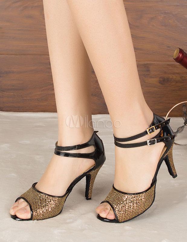 Baile latino marrón sandalias lentejuelas Peep Toe salón tacones para mujeres 3hgbGNJ