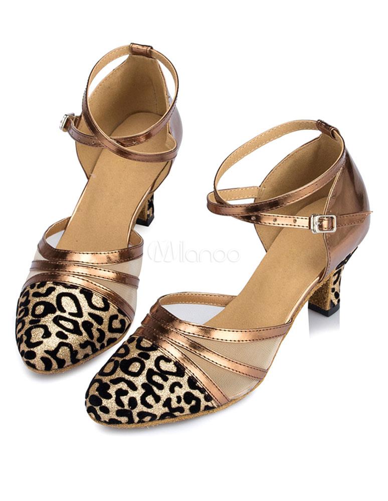 Zapatos de baile latino Zapatos de salón de mujeres Zapatos de baile latino Criss Cross de leopardo con punta WWJDTO