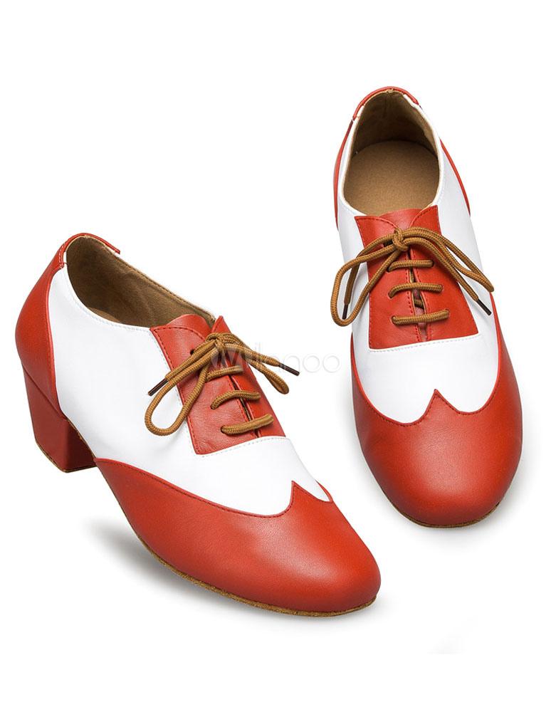 Color bloque baile latino zapatos encaje hasta zapatos de salón de baile de PU para los hombres yzuokvKm