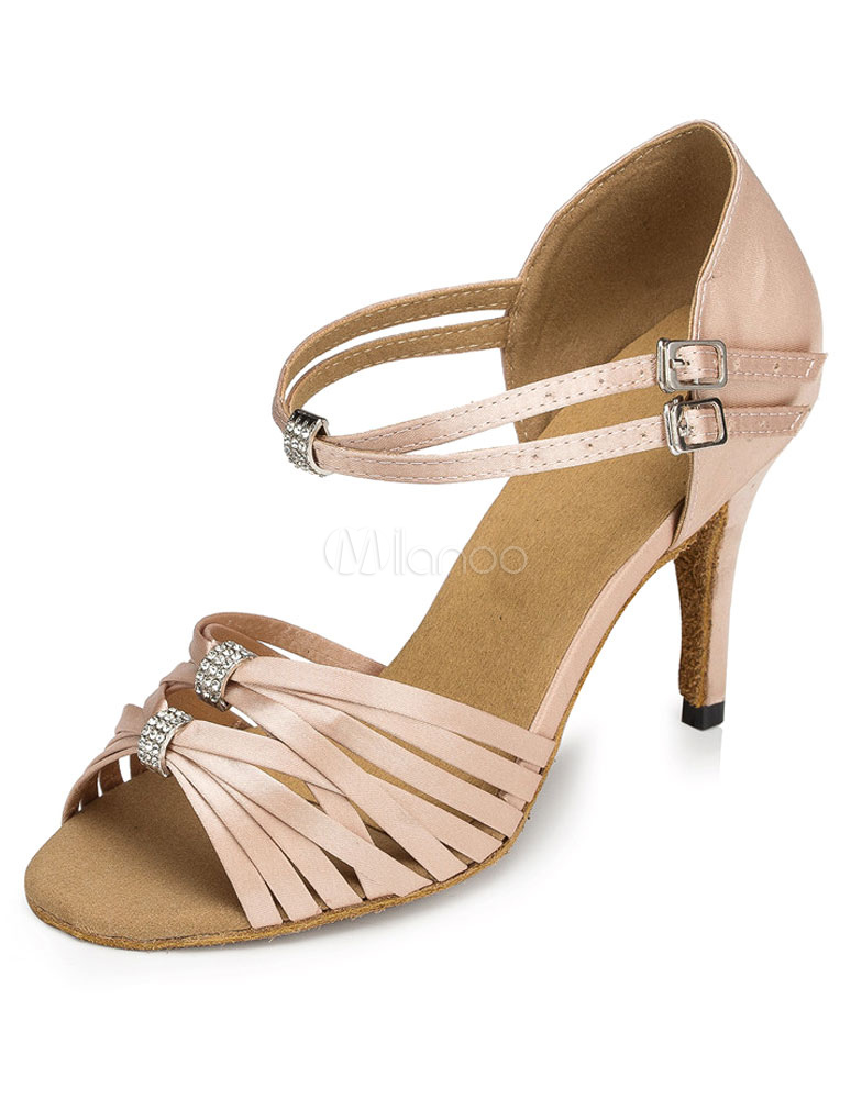 Buy Flesh Latin Dance Sandals Ankle Strap Satin Ballroom Heels for Women for $29.74 in Milanoo store