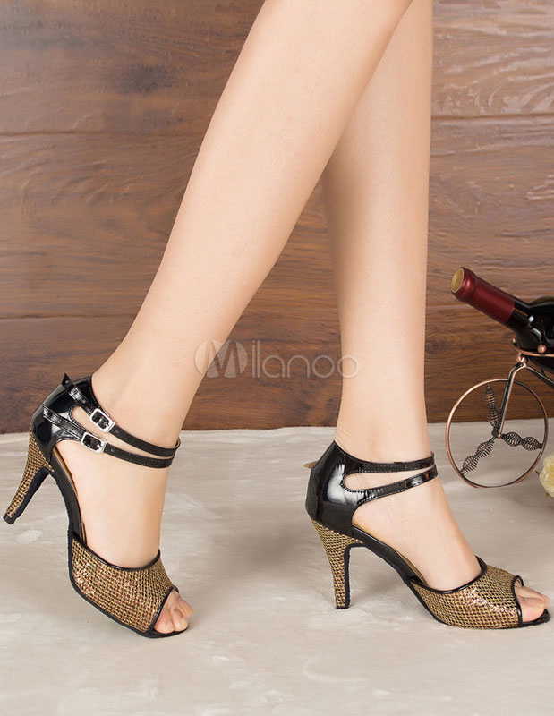 Baile latino marrón sandalias lentejuelas Peep Toe salón tacones para mujeres G1gZgv