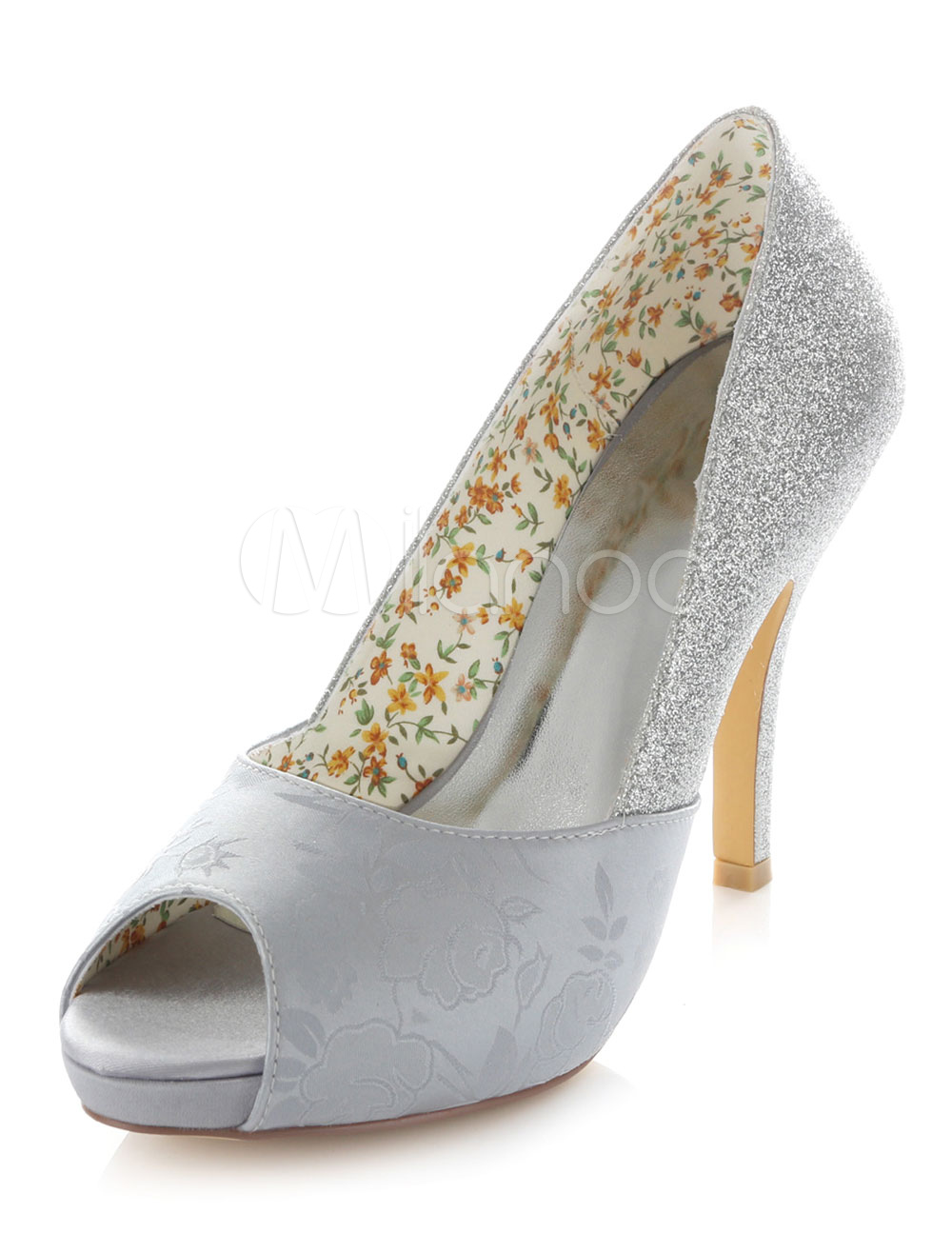 2556eb47a67 Peep Toe Bridal Pumps Silver Print Satin Wedding Heels for Women ...